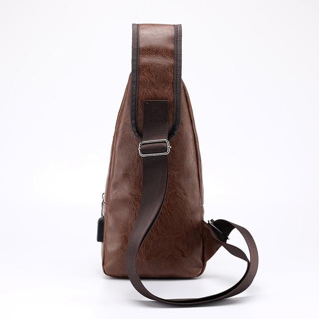 Men's Crossbody Bags Men's USB Chest Bag Designer Messenger bag Leather Shoulder Bags Diagonal Package 2019 new Back Pack Travel 1