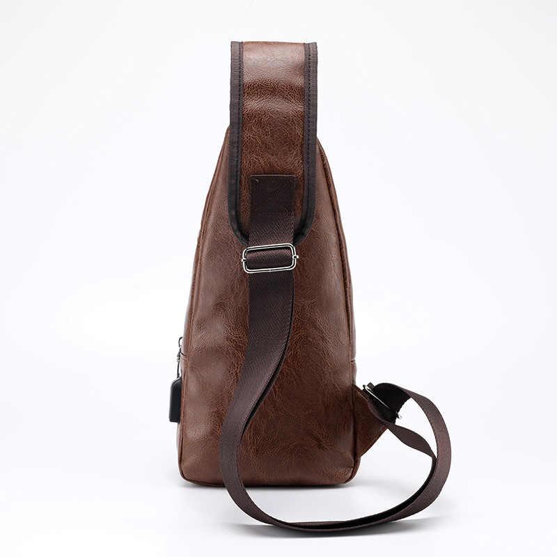d14b49704f7b ... Men s Crossbody Bags Men s USB Chest Bag Designer Messenger bag Leather Shoulder  Bags Diagonal Package 2018 ...