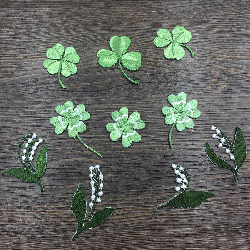 Han Noble Clover Embroidery Patch Stripes Applique iron on Sewing for Clothes Wedding Decoration Patches Dress DIY 1PC
