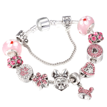 CUTEECO Cartoon Mickey Minnie Charm Bracelets Murano Beads Fits European Brand & Bangles for Women DIY Jewelry Gift