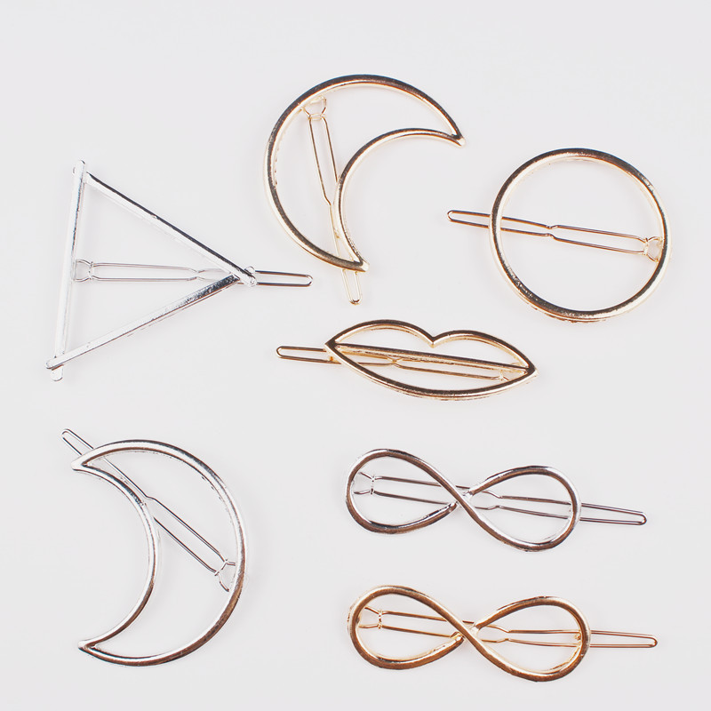 Free Shipping Simple Geometry Triangle Metal Fashion Women Gold Silver Hair Clip Hairpin Clip Hair Wedding Geometry Accessories