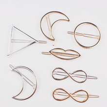 simple geometry triangle metal Fashion Women Gold Silver Hairpin Clip Hair Accessories Geometry Bobby Leopard