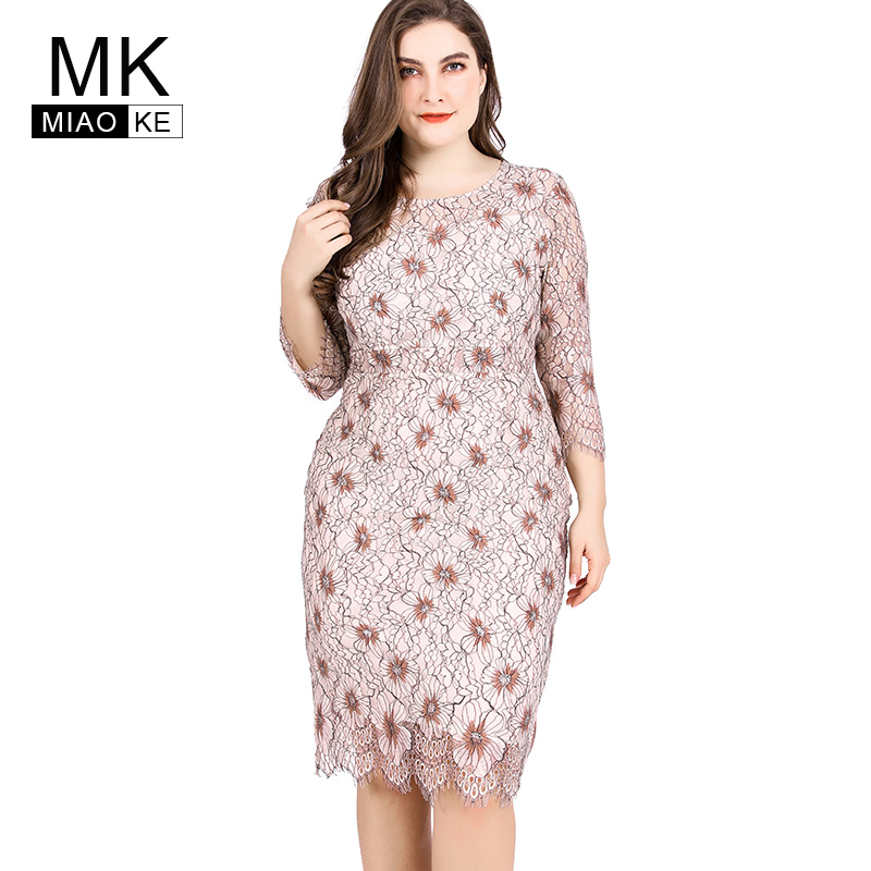 Detail Feedback Questions about Miaoke Ladies Large Size Lace print Sexy  Dress High Quality Clothing Fashion elegant Plus Size Women midi party  night ... 2e52d11de1ca