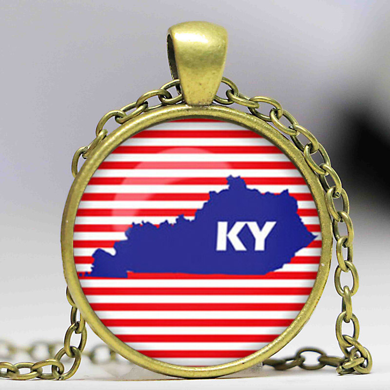 Kentucky map Necklace Kentucky map Pendant US states maps Glass Dome Pendant Necklace