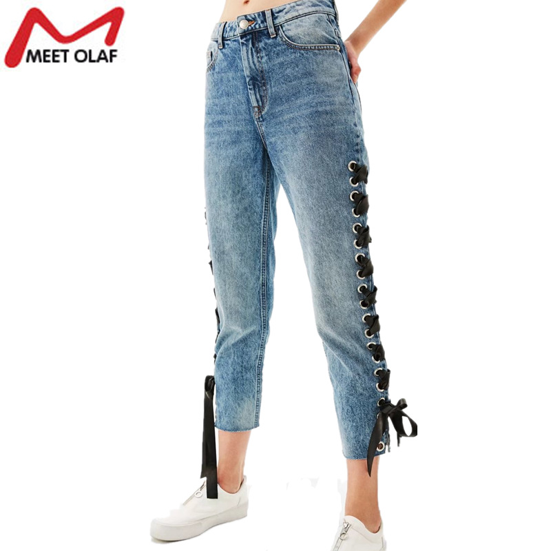 Women Summer Spring Ankle Length Denim Pants Female Jeans with Side Cross Lace Up High Waist Vintage Loose Trousers Girls YL933 summer vintage women lace hole jeans high waist floral embroidery fashion ankle length cross pants women denim jeans harem pants