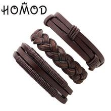 HOMOD Punk Turkish Handmade Bracelets for Women Men Beads Wristband Cuff Leather Bracelet Ethnic Vintage Jewelry Bijouterie