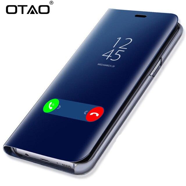 OTAO Clear View Thông Minh Gương Ốp Lưng Điện thoại Xiaomi Redmi 5 Plus Note 5 5A 4X Lật Trường Hợp Cho Xiaomi 8 SE 6 6X Nắp Lưng Da