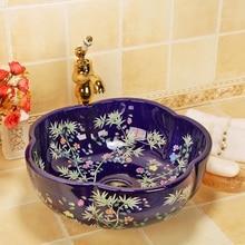 Flower and bird Art Basin Sinks Ceramic Counter Top Wash Basin Bathroom Vessel Sinks vanities new ceramic wash basin blue