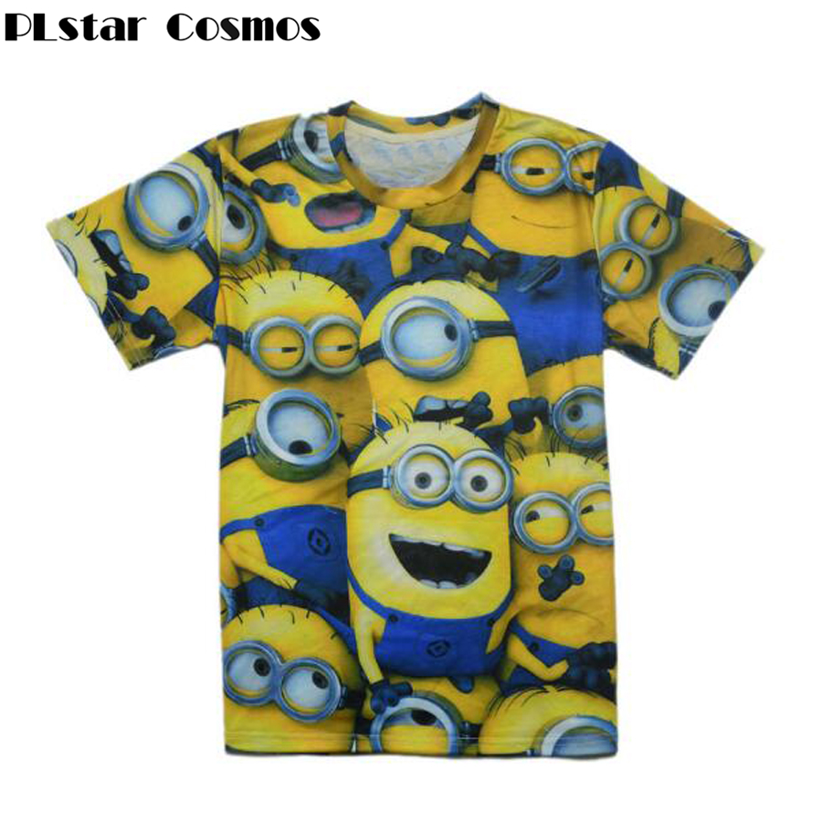 PLstar Cosmos Drop shipping Summer Fashion Women/Men t shirt Cartoon despicable minions 3d print O-Neck casual t-shirt tops