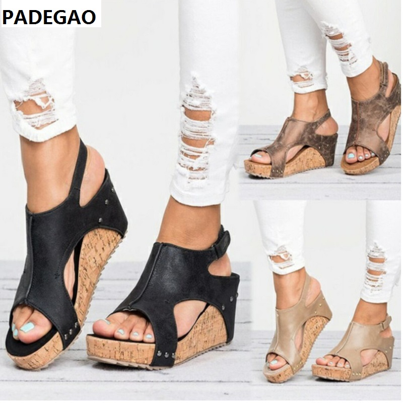 Sandals. Buckle Wedge Thick-Soled-Strap Custom Fish-Beaked Roman-Style Size-35-43
