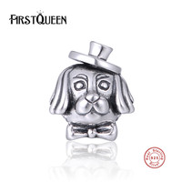 FirstQueen 925 Sterling Silver Cute Dog Charm Bead Original Fit Brand Bracelet For Jewelry Making Factory