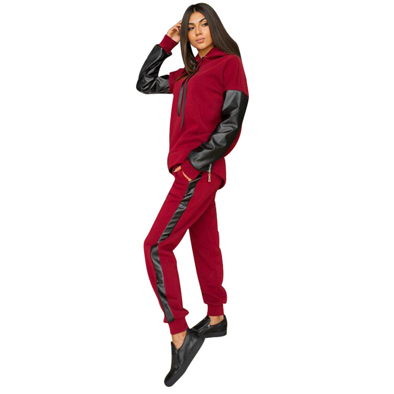 Tapakva Casual dentelle-up hoodies de sport en cuir patchwork ensembles de split side fermetures à glissière tops rue-porter 2 pièce ensembles costumes tracksu