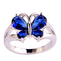 New Butterfly Fashion Design Women Jewelry Blue Sapphire Quartz 925 Silver Ring Size 6 7 8 9 10 11 Wholesale Free Shipping