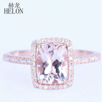 UNBELIEVABLE 6x8mm Cushion Shape 1 37CT Morganite 0 2ct Natural Soild 14K Rose Gold Engagement Ring