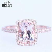 Helon信じられない6 × 8ミリメートルクッション1.37ctモルガナイト& 0.2ct