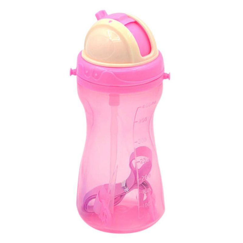 400ml Child Training Drink Bottle Kids Drinking Cup Baby Non-toxic Bottles Feeding with Adjustable Belt Portable & Anti-slip