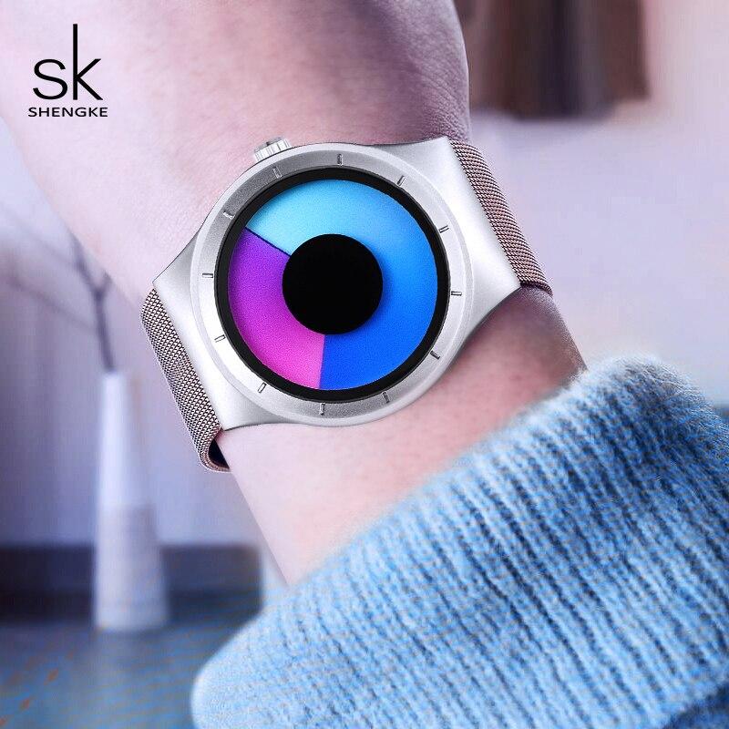 Shengke Creativo Relojes de Mujer Único de Malla de Plata Banda Reloj de pulsera de Acero Inoxidable de Lujo Reloj de Cuarzo 2018 SK Relogio Feminino