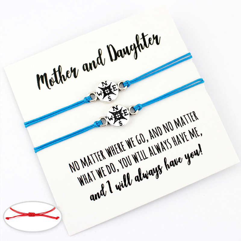 Compass Sailing Mom Daughter Charm Card Adjustable Bracelets Women Men Friendship Lover's Couple Jewelry Christmas Gift
