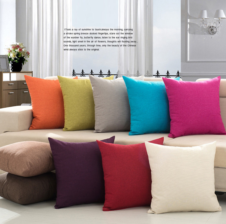 Us 5 69 45x45cm Decorative Plain Linen Throw Pillow Covers Sofa Bed Cushion Cover Case In Office Coffee From Home