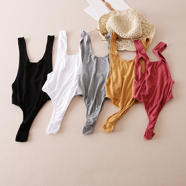 Sexy U Neck Summer Backless Elastic Women Jumpsuit Rompers Casual Ladies Solid Color Bodycon Beach Wear Knit Bodysuit