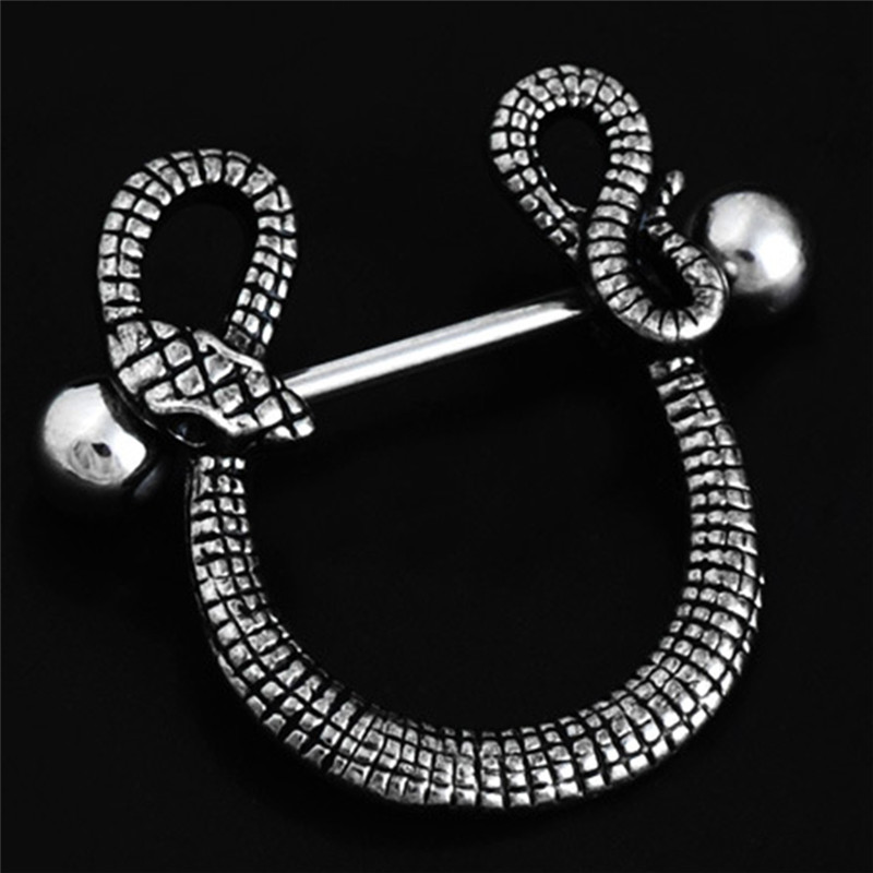 Snake Design U Shape Nipple Stainless Steel Navel Ring Straight Bar Piercing Body Jewelry Medical Nipple Piercing body jewelry