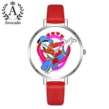 Cartoon Duck Quartz Watch Women'S Leather Watch Kids Children Relogio Feminino Montre Wristwatch Clock Gift bee do kids quartz watch leather band wristwatch