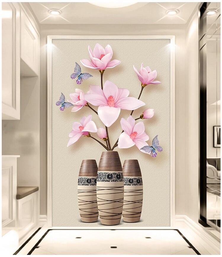 DIY 5D алмазная живопись Магнолия denudata цветок Алмазная вышивка розовые цветы масляная ваза полная дрель Алмазная мозаичный Рисунок