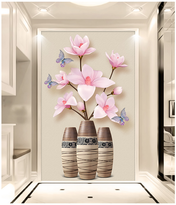 DIY 5D diamond painting Magnolia denudata flower embroidery pink flowers buttery vase full drill mosaic