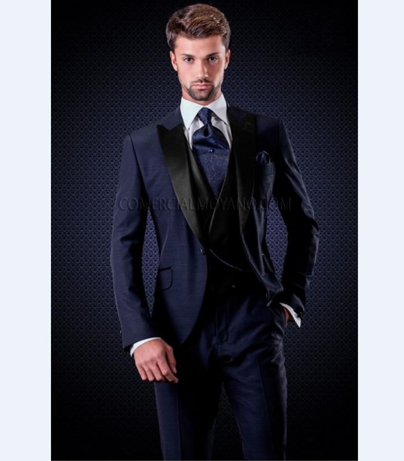 Black Suit Navy Blue Vest | My Dress Tip