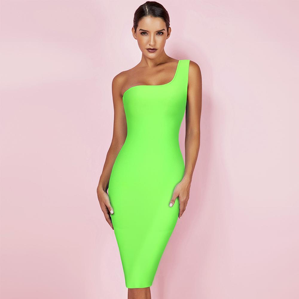 Cerf dame Bandage robes 2019 été néon vert une épaule Bandage robe Sexy moulante robe femmes parti Club