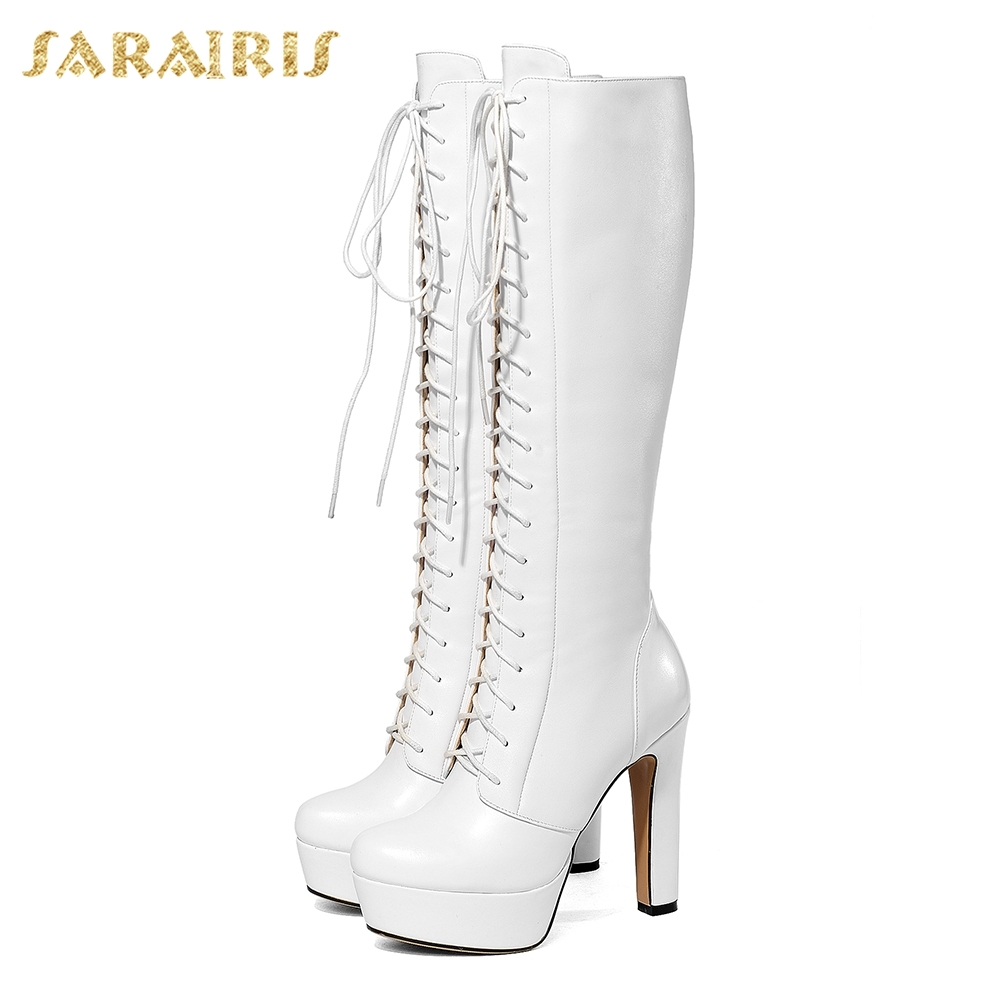 SARAIRIS 2018 Cow Leather PLus Size 34 40 Platform Lace Up Woman Boots Shoes Women High Heels Knee High Boots Shoes Woman