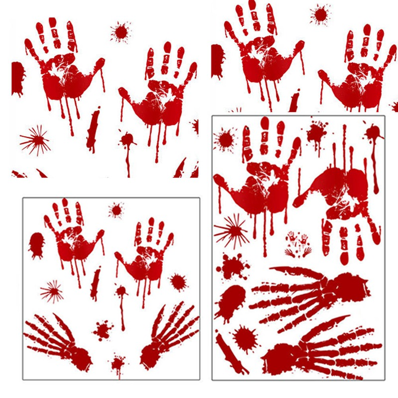 US $1 46 5% OFF|Bloody Handprint Footprint Floor Window Clings Decals  Halloween Vampire Zombie Walking Dead Party Decor Wall Stickers-in Wall  Stickers