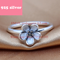 PJR011 FreeShipping 925 silver ring .flower ring with stone 2 color Delicate jewerly. Latest Fashion Design rings for woman