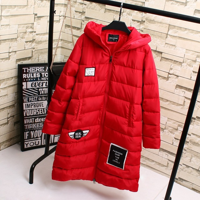 2016 Winter Turtleneck Women Parkas Casual Letter Badge Plus Size 3XL 4XL Warm Thick Hooded Long Parka Outerwear KK1922