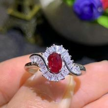 Женское кольцо с красным Рубином shilovem Настоящее серебро