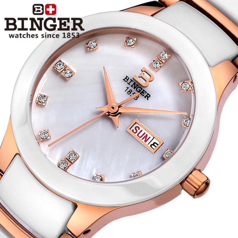 Suisse Binger Space céramique femmes montres de mode quartz montres strass amoureux horloge résistant à l'eau B-8007L-3