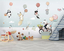 Beibehang Custom wallpaper mural Cute cartoon animal hot air balloon Childrens room background Wall wallpapers for living