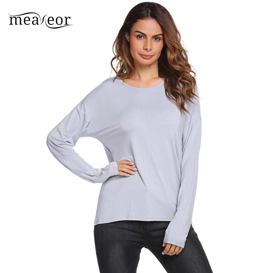 Meaneor Fashion Long Sleeve Women T Shirts Solid O Neck