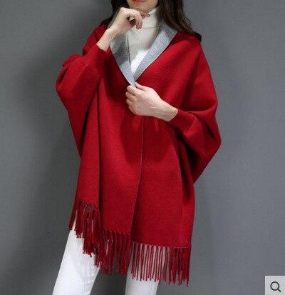 SC2 большой шарф Зимний вязаный пончо женский однотонный дизайнерский плащ женский длинный рукав летучая мышь пальто винтажная шаль