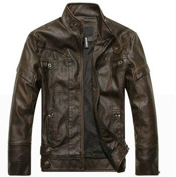 Brown Leather Jacket Men Motorcycle Autumn Winter Fleece Pu Men's Leather Coats Casual Pockets Suede Jackets Male Zipper Fashion