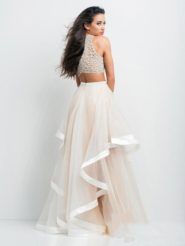 a0ec652d248 ... 2016 Top Selling Beaded Crop Top Two Pieces Prom Dresses Formal Gowns  Pageant Dress Flounced Skirt ...