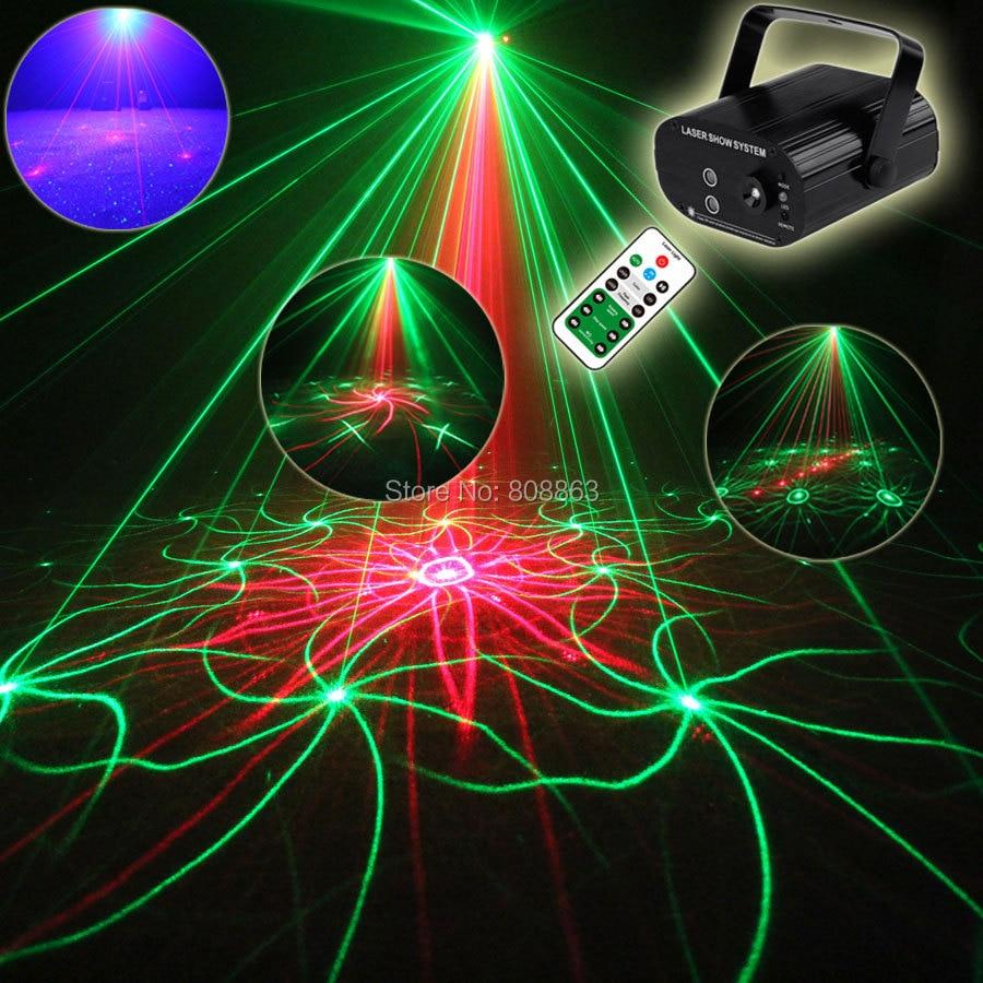 ESHINY Mini R&G Laser 18Patterns Projector Blue Led Club Bar DJ Dance Shop Disco Family Party Effect Lighting Light Show T121