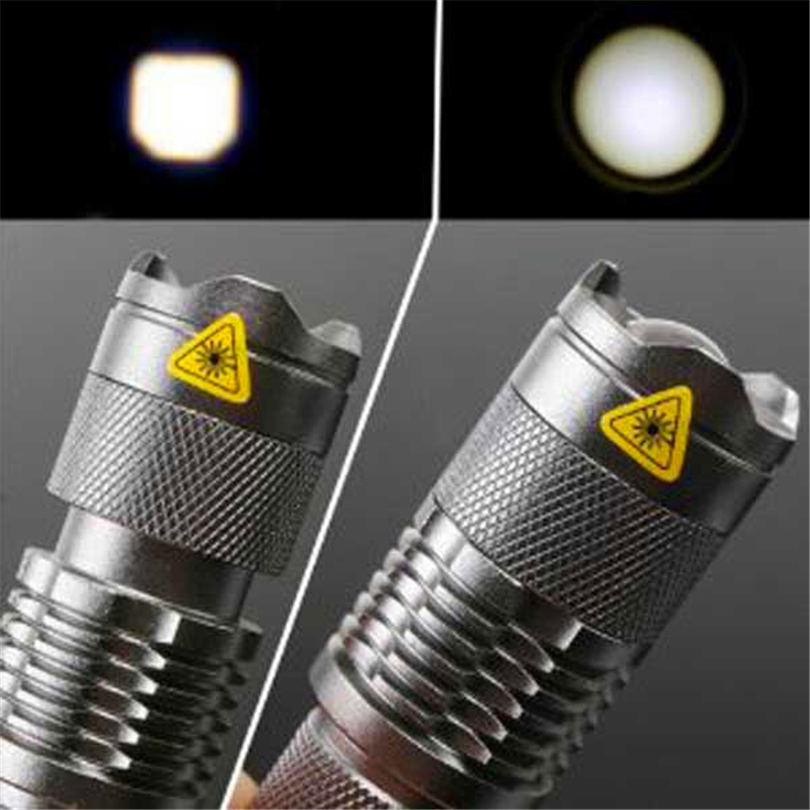 7W 300LM Mini LED Flashlight Torch Adjustable Focus Zoom Light Lamp Silver powerful led flashlight laser pointer #4S19 (5)