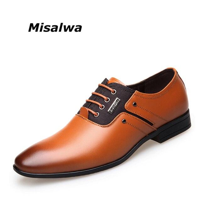 Misalwa большой Размеры Мужские модельные туфли качество Мужская деловая обувь Кружево-Up Для мужчин Бизнес Оксфорд Обувь бренд Для мужчин Свадебные острым Обувь