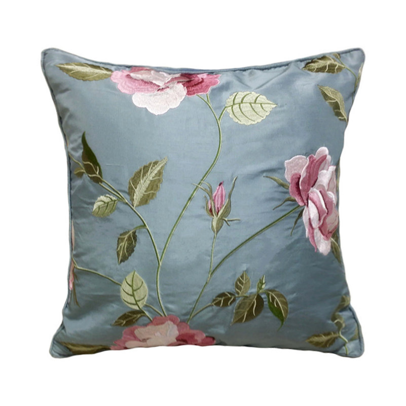 Free Shipping Deluxe Silky Pillow Cover Embroidery Cushion Cover Sofa Decorative Floral Silk Pillow Case 45*45 cm Sell by piece