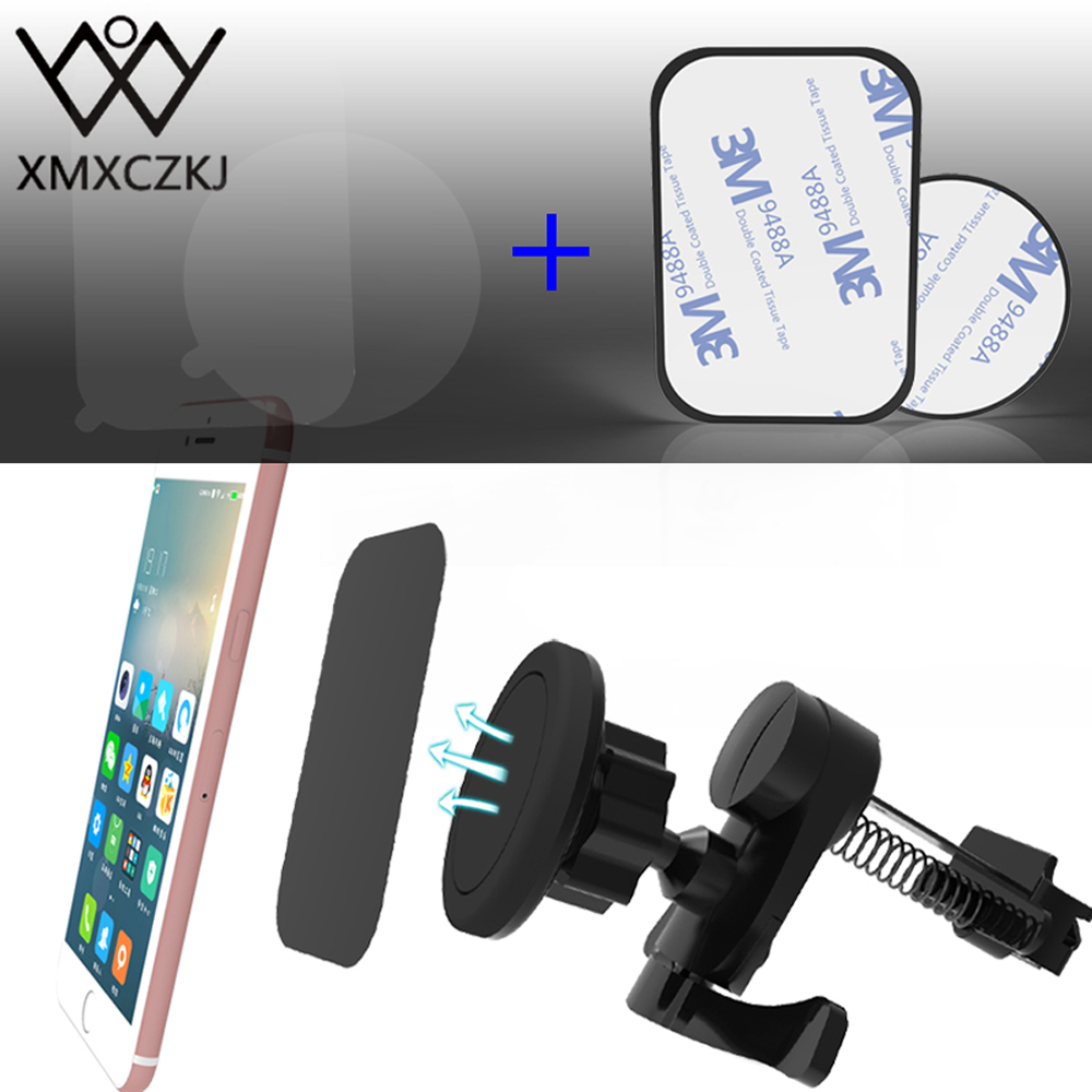 XMXCZKJ Magnet Car Air Vent Mount Mobile Phone Holder For IPhone X Magnetic Universal GPS Spring Cell Phone Holder Stand Bracker