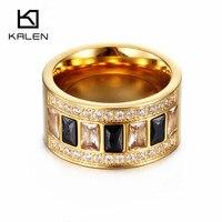 Fashion Women Zircon Rings Wholesale Stainless Steel Gold Wedding Rings For Women Party Jewelry 2017 Kalen Jewelry