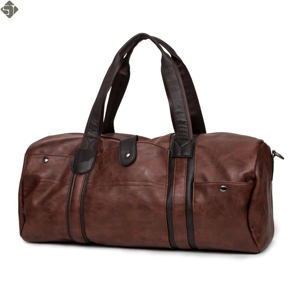 Top Quality Casual Travel Duffel Bag Leather Men Handbags Big Large Capacity Travel Bags Black Mens Messenger Bag Vintage Tote