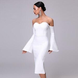 Image 3 - 2020 New Autumn Women Bandage Dress Elegant White Black Dress Sexy Flare Sleeve Midi Celebrity Party Christmas Dress Vestidos