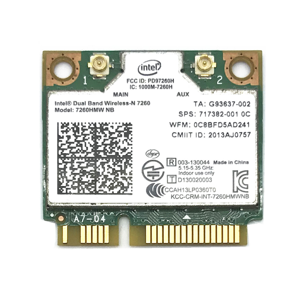 For Intel Wireless-N 7260 7260HMW NB Mini PCI-E 802.11b/g/n 300M Wifi Card For HP EliteBook 820 840 850 FIT 400PO  600PO 800EO